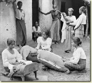 """Singhalese girls making pillow lace,"" 1907, New York State Archives"